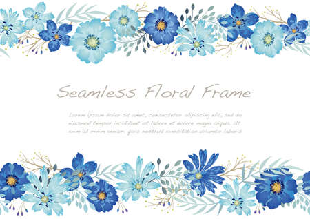 Watercolor Seamless Floral Frame Isolated On A White Background. Vector Illustration. Horizontally Repeatable.