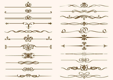 Set of vintage borders isolated on a plain background. Vector illustration. Vettoriali