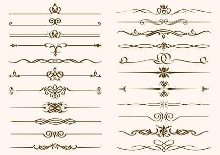 Ensemble de bordures vintage isolées sur un fond uni. Illustration vectorielle. Vecteurs