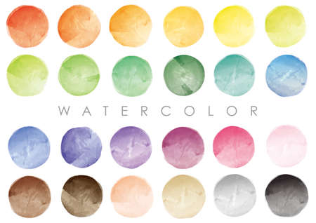 Set Of Vector Round Watercolor Backgrounds Isolated On A White Background. Vector Illustration