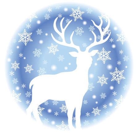 Round Winter Wildlife Illustration With A Reindeer And Snowflakes Isolated On A White Background. Vector Illustration.  イラスト・ベクター素材