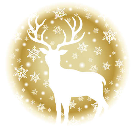 Round Christmas Icon With A Reindeer And Snowflakes Isolated On A White Background. Vector Illustration.