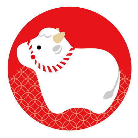 Year Of The Ox New Year's Greeting Symbol With An Ox Mascot On A Red Round Background Decorated With A Japanese Vintage Pattern. Vector Illustration Isolated On A White Background.