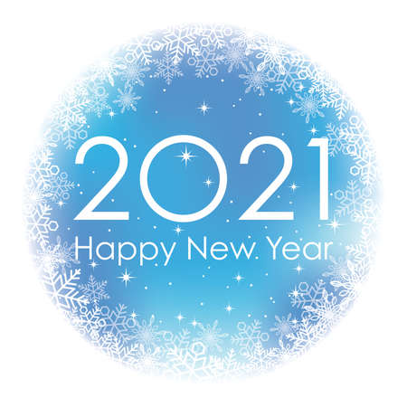 2021 New Year's Blue Vector Round Greeting Symbol With Snow Flake Pattern, Isolated On A White Background.