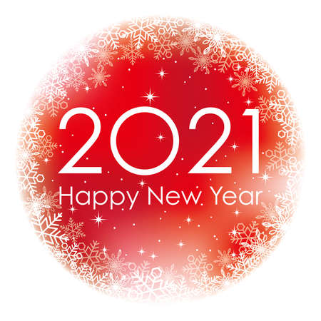 2021 New Year's Red Round Greeting Symbol With Snow Flake Pattern. Vector Illustration Isolated On A White Background. Stock Illustratie
