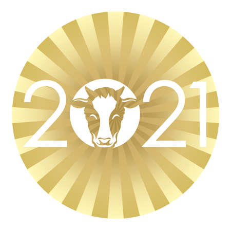 Year Of The Ox New Year's Greeting Symbol With 2021 Logo On A Gold Round Background. Vector Illustration Isolated On A White Background.