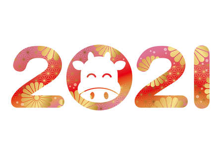 2021, Year Of The Ox, Vector Logo Decorated With Vintage Japanese Patterns Isolated On A White Background.