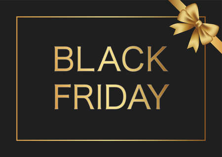 Black Friday Sale Vector Background With A Gold Ribbon And Black Background. 向量圖像