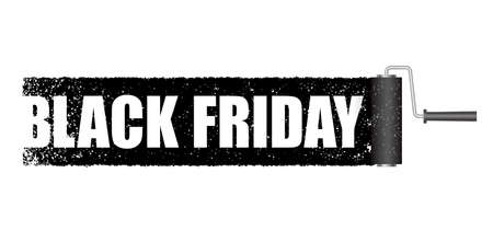 Black Friday Sale Banner With A Black Paint Roller Background. Vector Illustration Isolated On A White Background.