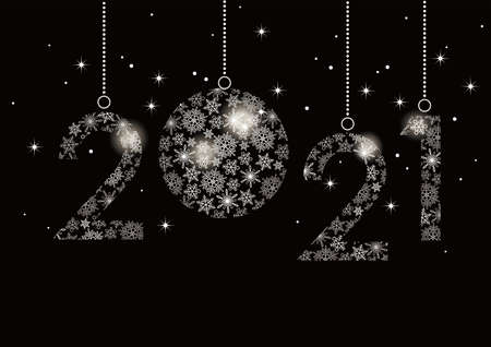 The Year 2021 Decorative Logo Composed Of Snowflakes, Vector Illustration Celebrating The New Year.