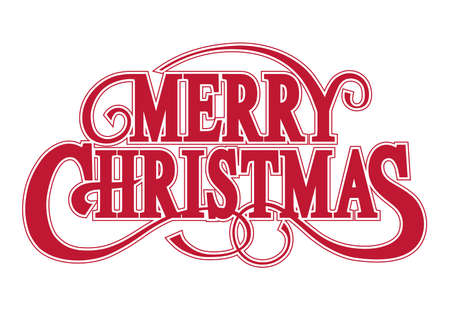 Merry Christmas Vector  . Red Decorative  With Swash Isolated On A White Background.