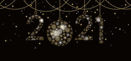 The Year 2021 Decorative  Composed Of Snowflakes, Vector Illustration Celebrating The New Year.