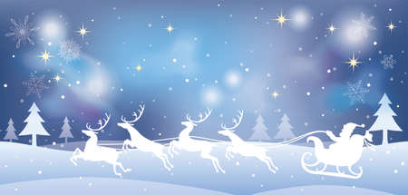 Christmas illustration with Santa Claus and reindeers in a snowy forest. Vector illustration.