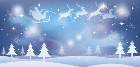 Christmas illustration with Santa Claus and reindeers flying over a snowy forest. Vector illustration.