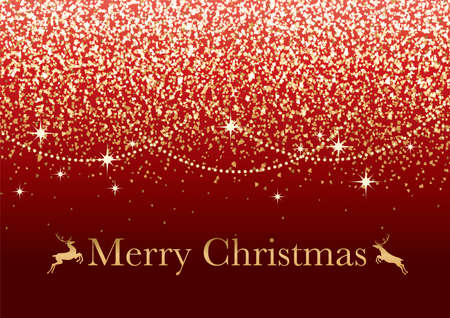 Abstract Red Vector Christmas Background With Gold Glitter Particles And Text Space.