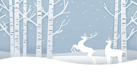 Vector Seamless Christmas Winter Forest Background With Reindeers. Horizontally Repeatable. 向量圖像