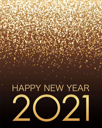 Vector Background Illustration Celebrating The Year 2021 With Gold Glitter Particles Light. 向量圖像
