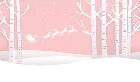 Vector Seamless Christmas Winter Forest Background With Santa Claus And Reindeers. Horizontally Repeatable.