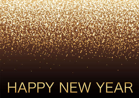 Happy New Year Vector Background Illustration With Gold Glitter Particles Light. Vectores
