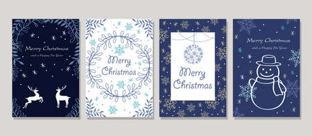 Vector Christmas Cards Set Isolated On A Gray Background. Vectores