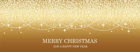 Abstract Gold Vector Christmas Background With Bright Glittering Particles And Text Space.