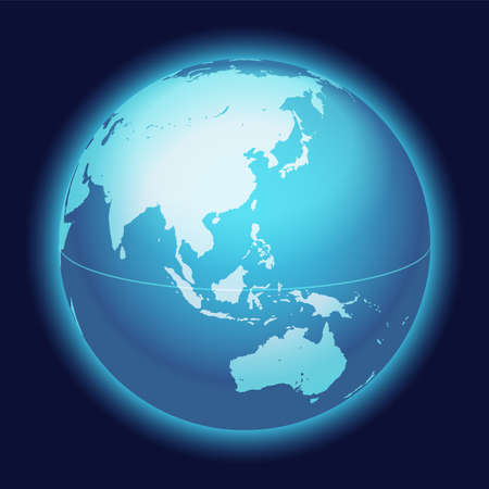 Vector World Globe Map. China, Eastern Asia, Australia, Centered Map. Blue Planet Sphere Icon On A Dark Background.