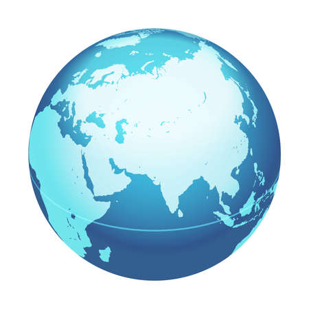 Vector World Globe Map. India, Middle East, Asia Centered Map. Blue Planet Sphere Icon Isolated On A White Background. Vectores