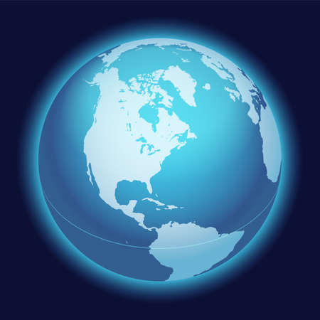 Vector World Globe Map. North America Centered Map. Blue Planet Sphere Icon On A Dark Background.