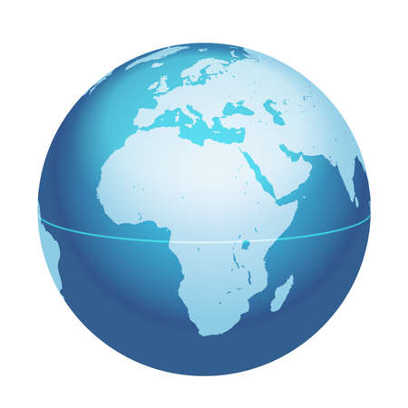 Vector World Globe Map. Africa, Mediterranean Sea, Arabian Peninsula Centered Map. Blue Planet Sphere Icon Isolated On A White Background. Vectores
