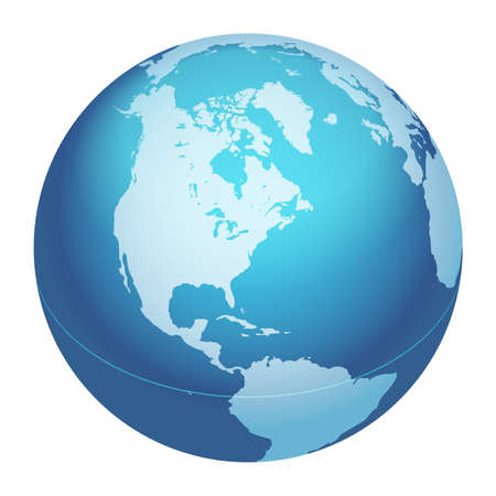 Vector World Globe Map. North America Centered Map. Blue Planet Sphere Icon Isolated On A White Background. Vectores