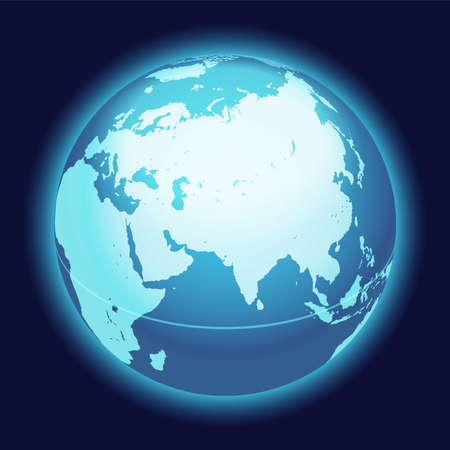 Vector World Globe Map. India, Middle East, Asia Centered Map. Blue Planet Sphere Icon On A Dark Background.