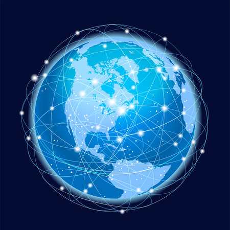 Global Network System Concept Illustration. North America Centered Map. Blue Planet Sphere Icon On A Dark Background. Vector Illustration.