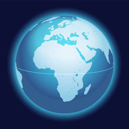 Vector World Globe Map. Africa, Mediterranean Sea, Arabian Peninsula Centered Map. Blue Planet Sphere Icon Isolated On A Dark Background.