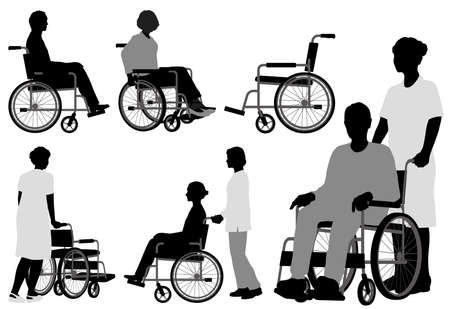 Set Of People In Wheelchair. Vector Silhouette Illustration Isolated On A White Background.