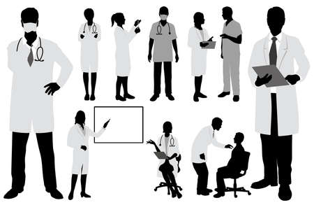 Set Of Doctors And Nurses. Vector Silhouette Illustration Isolated On A White Background.
