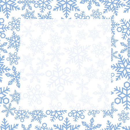 Seamless Vector Square Frame And Background With Snowflake Pattern. Horizontally And Vertically Repeatable. Ilustração