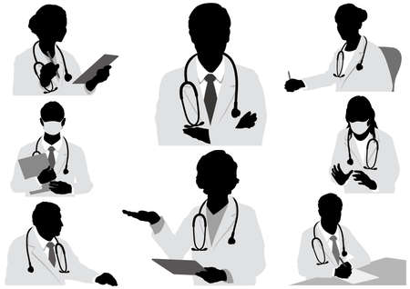 Set Of Doctors Vector Silhouette Illustration Isolated On A White Background.