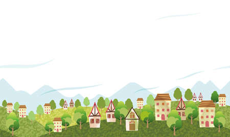 Seamless Hilly Landscape With A Peaceful Village And Text Space.  Vector Illustration. Horizontally Repeatable.