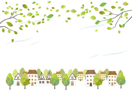 Idyllic Watercolor Townscape With Young Leaves Isolated On A White Background. Vector Illustration With Text Space.