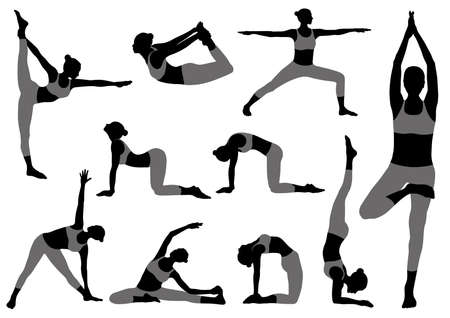 Set Of Vector Silhouettes Of Woman Doing Yoga Exercises. Monochrome Icons Of Various Yoga Positions Isolated On a White Background.