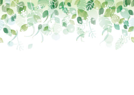 Seamless Watercolor Fresh Green Background With Text Space, Vector Illustration. Horizontally Repeatable. Ilustração