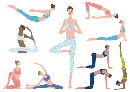 Flat Illustration Set Of Woman Doing Yoga Exercises. Vector Icons Of Various Yoga Positions Isolated On A White Background.