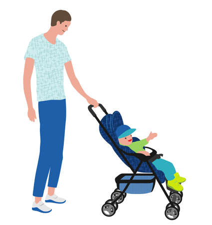 Father With A Baby In A Stroller, Vector illustration. Easy To Use Illustration Isolated On White Background.