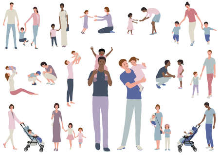 Happy Families With Children, Vector illustration Set. Easy To Use Illustration Isolated On White Background.