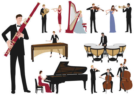Performing Musicians Vector Flat Illustration Set. Easy To Use Illustrations Isolated On A White Background. Ilustração