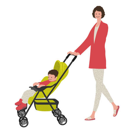 Mother With A Baby In A Stroller, Vector illustration. Easy To Use Illustration Isolated On White Background.