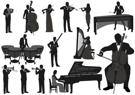 Performing Musicians Vector Silhouette Illustration Set. Easy To Use Illustrations Isolated On A White Background.