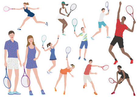 Tennis Players Vector Flat Illustration Set. Easy To Use Illustrations Isolated On A White Background. Ilustração