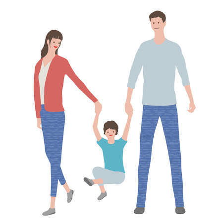 Parents Holding The Hands Of Their Children, Vector illustration. Easy To Use Illustration Isolated On White Background.