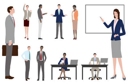 Set Of Business People In Fat Style. Easy To Use Vector Illustrations Isolated On A White Background.